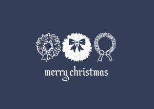Merry Christmas greeting with three wreaths
