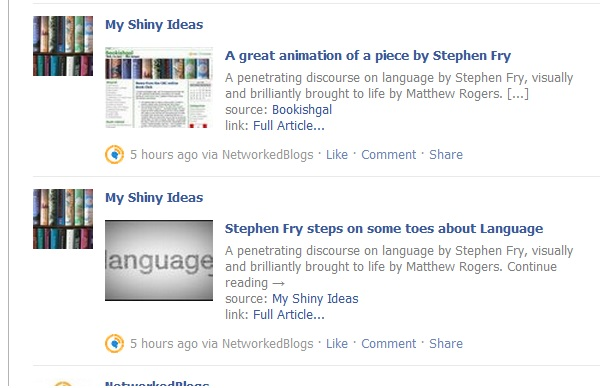 Screencap of automated blog posts on Facebook