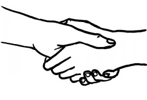 drawing of two hands in a handshake