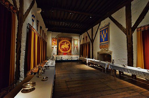 Great Hall at Dover Castle, with banquet tables