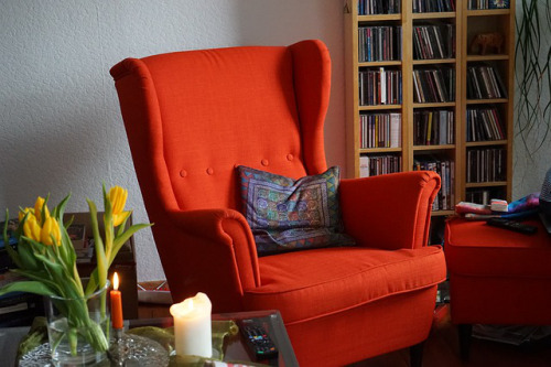 Comfy high-backed wingback chair